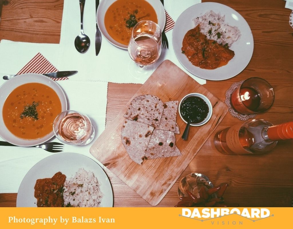 Delicious British Indian Dinner with Hungarian Wine